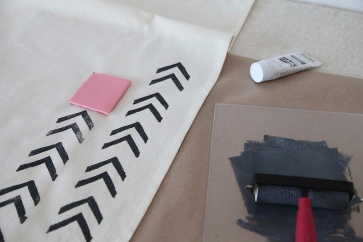 Block printing tea towel.JPG